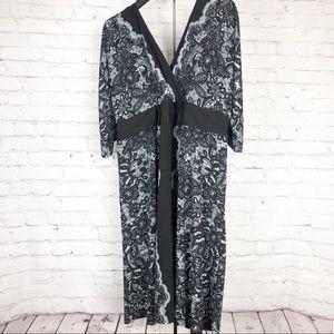 Lane Bryant Plus Size Black Gray Print Dress 26/28
